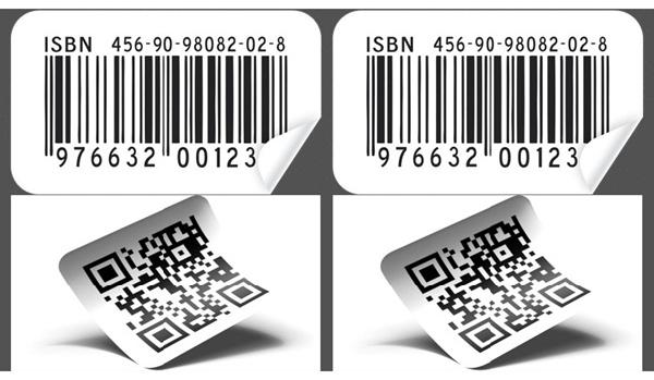 Hình ảnh tem mã vạch 1D (trên) và 2D (dưới)